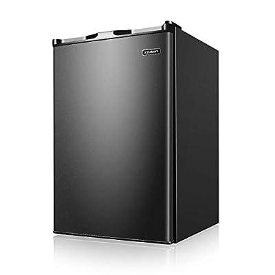 Euhomy Upright Freezer, Energy Star 3.0 Cubic Feet,Compact Single Door Freezer with Reversible Stainless Steel Door?Mini Freezer for Home/Dorms/Apartment/Office(Black)