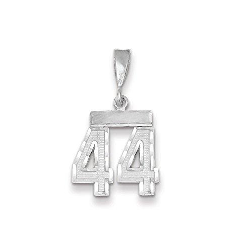 Abalorio de oro blanco de 14 quilates con número 44 de diamante para mujer