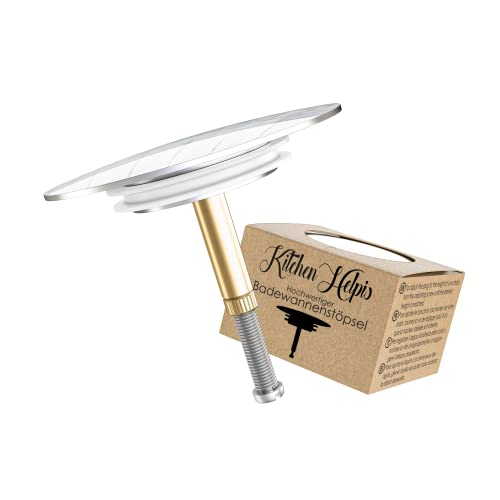 Kitchen Helpis® Edler Badewannenstöpsel für alle gängigen Badewannen, ⌀ 72mm Stöpsel Badewanne, höhenverstellbarer Badewannen Stöpsel Verschluss, Doppeldichtung Badewannenstöpsel universal, Stöpsel