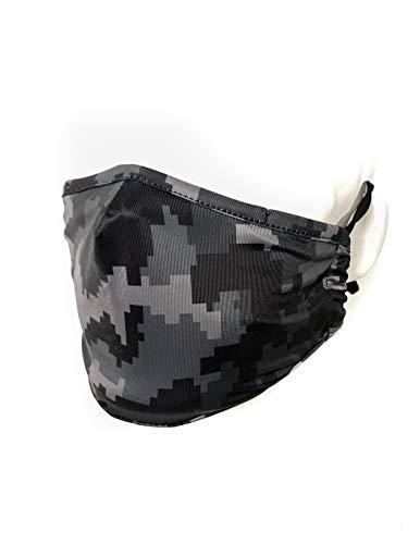 Fydelity-Kids Breathable Face Mask Comfortable Fabric Cover Reusable: Children (Black Camo)