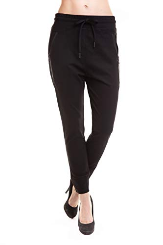 Zhrill Damen Joggpant Stoffhose Anzugshose Tapered Cropped Slim Fit Fabia, Größe:S, Farbe:N9303 - Black