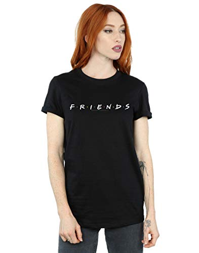 Absolute Cult Friends Mujer Text Logo Camiseta del Novio Fit Negro XXX-Large