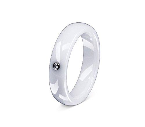 Flame Damen-Ring Trauring Antragsring Partnerring Keramik Ceramic 1 Zirkonia weiss -gratis Gravur 60 (19.1) C-AC-D