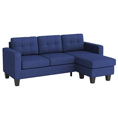 VASAGLE Sofa, Couch fürs Wohnzimmer, L-förmig, mit wandelbarer Liege, Bezug aus Leinenimitat, Polstermöbel für kleine Wohnungen, 203 x 76 x 82 cm, modernes Design, blau LCS800Q01