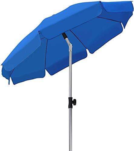 MVPower Ombrellone da Spiaggia, Ø 200 cm Ombrellone Rotondo UV UPF 50+, Ombrellone Inclinabile, Per Il Giardino Esterno Della Spiaggia Balcone, 200 g /m², Blu Reale
