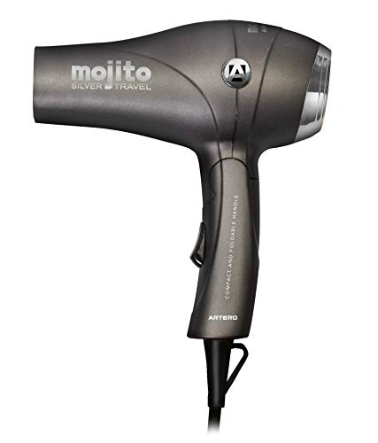Artero Mojito - Secador de pelo de viaje, plegable. Con difusor, boquilla y funda. 1000W de potencia. (SILVER)