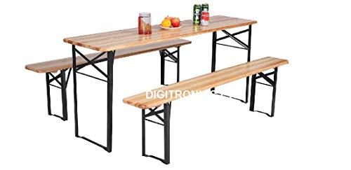 3 Pcs Portable Wooden Folding Picnic Beer Table Bench Trestle Patio Outdoor Garden Pub Adult Size (Large (120x50x75 cm))