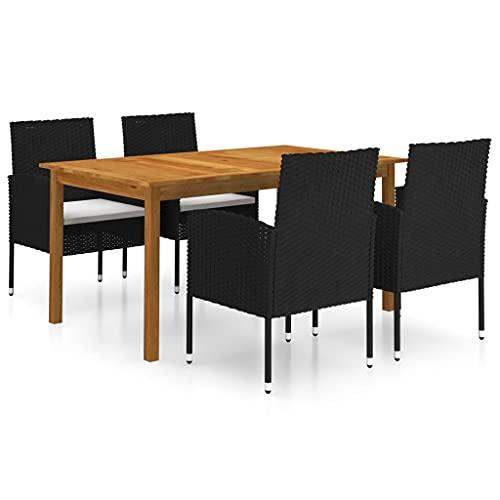 vidaXL Gartenmöbel Set 5-TLG. Gartengarnitur Sitzgruppe Sitzgarnitur Gartenset Tisch Stühle Esstisch Gartenstuhl Gartentisch Sessel Schwarz
