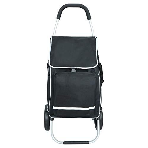 Liqing Einkaufstrolley klappbar, Leichter Einkaufswagen mit Rollen, Isoliertes Kühlfach Abnehmbare Tasche 52L (Schwarz)