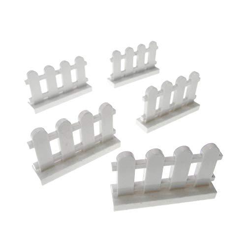 5 x Lego System Zaun weiß 1x4x2 Garten Latten Zäune Gatter