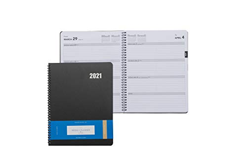 Delane Weekly Planner 2021 - Spiral Bound Hourly Appointment Book – 12 Month Academic Planner - Schedule Your School or Business Calendar – Annual Day Organizer Agenda with Premium Paper, Black