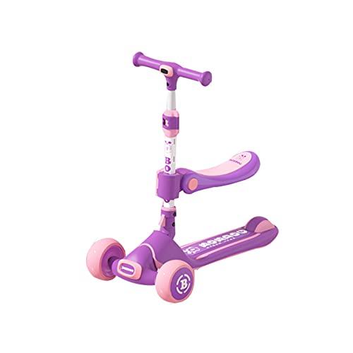 Scooter Infantil, Scooter Plegable De Tillas De Inclinación Ultra Ancha, con 3 Ruedas De PU Y 4 Alturas Ajustables, Capacidad De 110 Libras, Adecuada para Niños Y Niñas De 2 A 8 Años,Púrpura