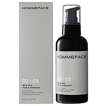 HOMMEFACE All-in-One Face Toner & Moisturizer for Men 5.07 fl oz Balancing & Hydrating Lightweight Alcohol-Free After Shaving for Dry Combination & Oily Skin