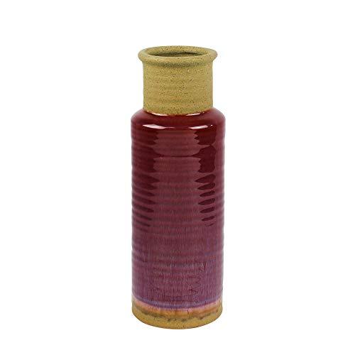 Sagebrook Home Ceramic Jar Vase, Fuchsia JARRÓN, Fucsia, 4.25x4.25x12.25