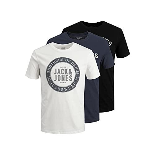 Jack & Jones JJEJEANS Tee SS O-Neck 3PK MP 21/22 T-Shirt, Cloud Dancer/Pack : Danseur Cloud + Blazer Navy + Noir, XXL Homme