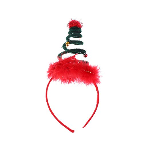 Lurrose Springy Christmas Headband Feather Headdress Hair Hoop Christmas Headwear Xmas Party Favors Gifts (Green)
