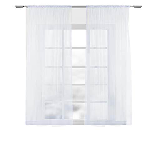WOLTU VH5516ws-2, 2er Set Gardinen Vorhänge transparent mit Kräuselband Stores für Schiene, Doppelpack Fensterschal Voile für Wohnzimmer Schlafzimmer Kinderzimmer Landhaus, 140x175 cm Weiß