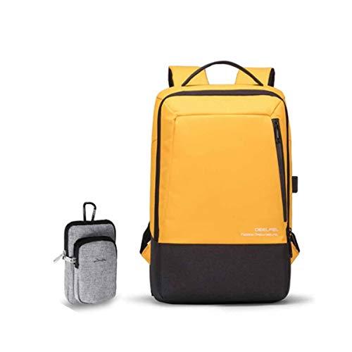 YANTING 若い大容量の日照黄色のバックパックの学生通学レジャーとビジネスのファッションミニマリストバックパックコンピュータバッグトラベルバッグの新しいトレンド (Color : Yellow)