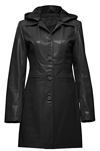 JUFAH Gabardina larga mujer cuero genuino extraíble con capucha 4 botones solo botonadura abrigo negro y marrón - negro - X-Small