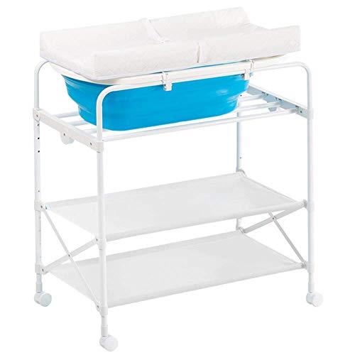 JALAL Klappbarer Wickeltisch mit Badewanne, Wickelstation aus weißem Metall für gewerbliche Kinderzimmer, Last 50 kg