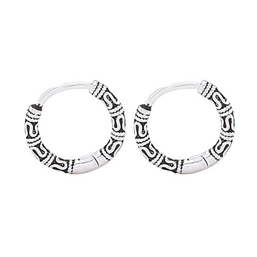 LPOQW Pendientes de aro vintage para mujeres y hombres Punk Metal Rock estilo textura patrón anillo joyería regalo para pareja
