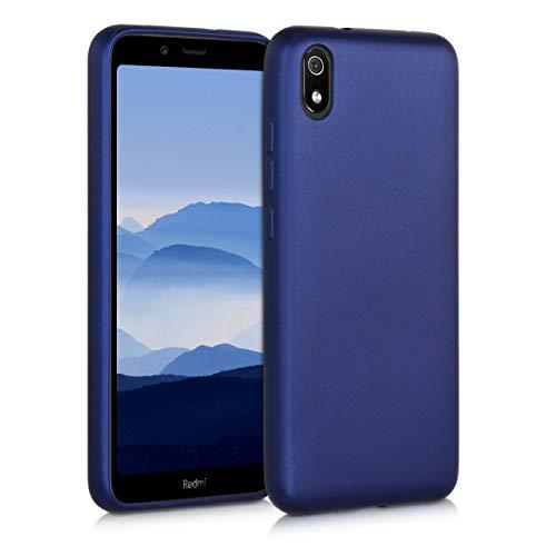 kwmobile Funda Compatible con Xiaomi Redmi 7A - Carcasa móvil de Silicona - Protector Trasero en Azul Metalizado