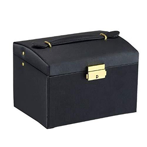 Nouveau Faux Bijoux en Cuir boîte FashionNecklace Boucle d'oreille Bracelet boîte de Rangement Cabinet (Couleur : Black)