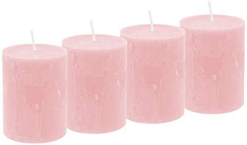 Unbekannt 4 Rustic Stumpenkerzen Kerzen Rosa Tischdeko Party Deko Adventskerzen