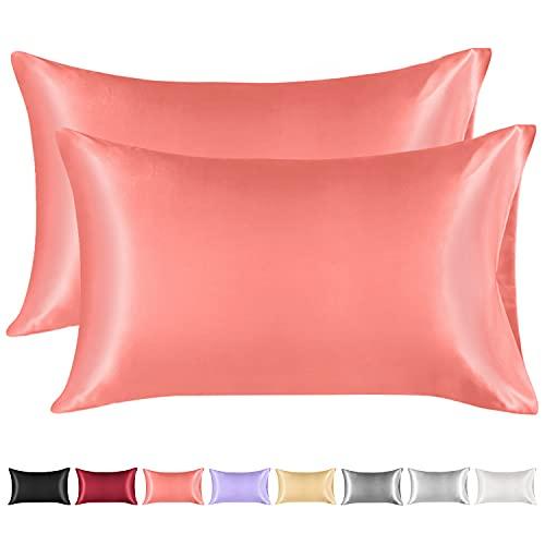Lirex 2 Paquetes Funda Almohada Seda, King Size Microfibra de Color Sólido Suave Funda de Almohada de Seda, Sin Arrugas Resistente a la Decoloración Respirable (Rosado, 50x75cm)