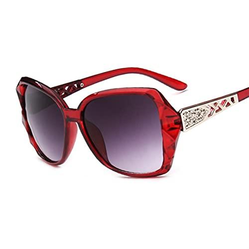 SLAKF Gafas duraderas Gafas de Sol de Gran tamaño para Las Mujeres cuadradas de Moda de Manera Retro Gafas de Sol (Lenses Color : Wine Red)