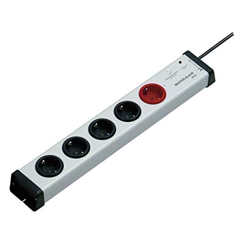 5-fach-Steckdosenleiste mit MasterSlave-Funktion und Überspannungsschutz mit 1,5-m-Zuleitung | MasterSlave-Mehrfachsteckdose max. 250 V/AC / 3.600 Watt | 0212x00052301