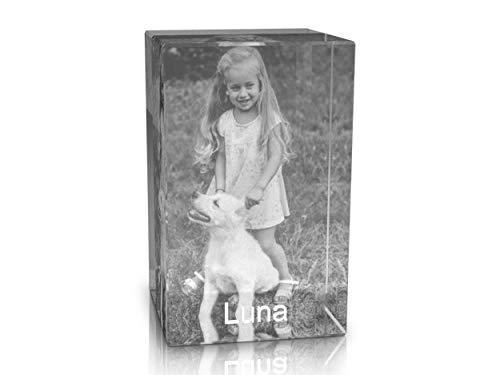 VIP-LASER 2D Gravur Glas Kristall Quader im Hochformat L mit dem Foto von Deinem Hund. Dein Wunschfoto für die Ewigkeit Mitten in Glas! Groesse L = 60x40x40mm