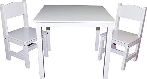 Kindermöbelset Kindertisch & 2 Stühle Kindersitzgruppe Sitzgruppe Tisch Stuhl Kinderhocker Kindermöbel (Weiss)