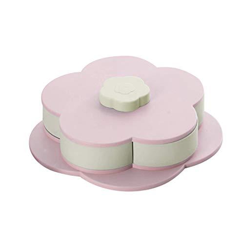 Geschirr kreative rotierende Snackbox rosa/Blaue Blütenblätter doppelschichtige einschichtige kandierte Frucht eigenständige Snacks Süßigkeiten kandierte Obstschale Küchenbedarf