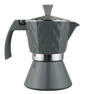 Espressokocher aus Edelstahl für 6 Tassen Farbe antrazit für alle Herdarten geeignet z.b. Induktion
