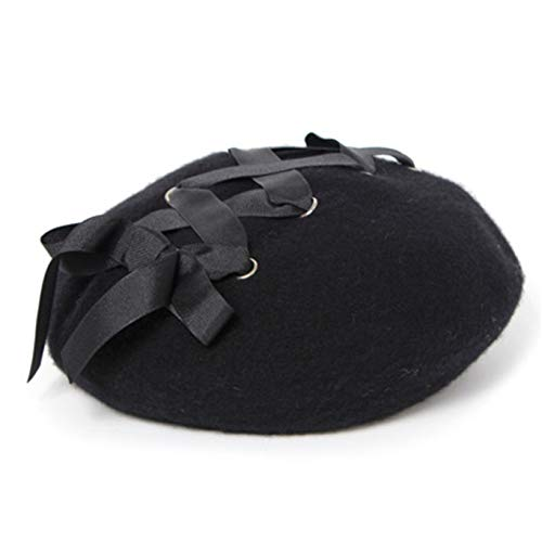 Aiasiry Boina De Tiras De Estilo Retro Sombrero De Mujer Elegante De Color Puro Sombrero De Pintor Informal, Negro