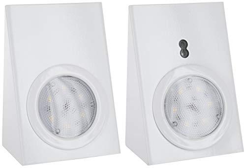 LED Edelstahl Unterbauleuchte 230V SET mit Touchschalter + Netzkabel 2,5m - 2x180lm - weiß-lackiert