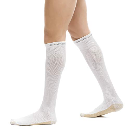 EvoMotion Hydrotec Copper Antimicrobial USA Made Ultimate Compression Socks Men and Women 15-20 mmHg Moderate Graduated Pressure Pro Athletic Sports Performance and Recovery Support (XL, White)