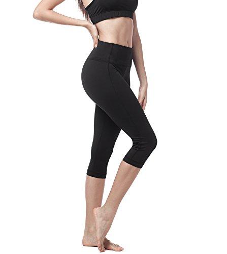 LAPASA Damen 3/4 Sport Leggings, mit Tasche, Super Opak, 3/4 Yoga Sporthose, Damen Capri kurz Training Tights L002 (Schwarz, S (Taille 60–70 cm, Schrittlänge 46cm))