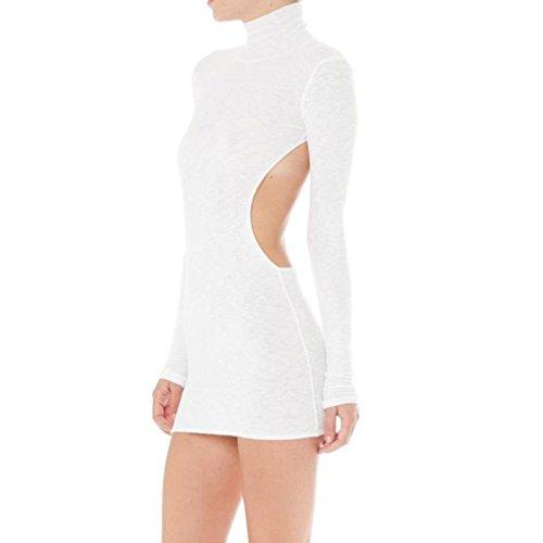 Longra Damen Sexy Clubwear Partykleider mit Stehkragen Langarmkleid Damen Elegante Abendkleid...