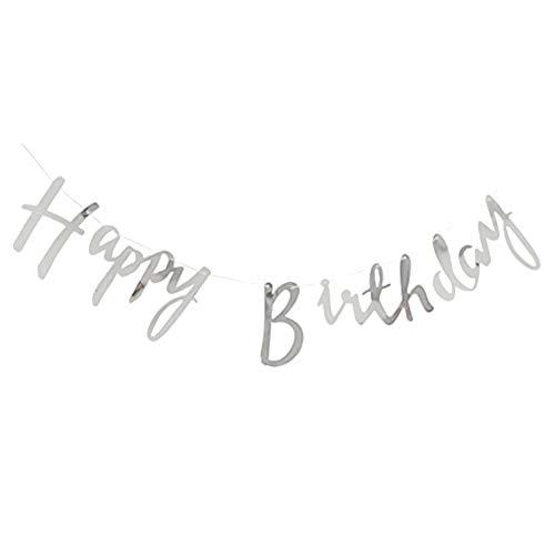 hellomagic Happy Birthday Banner Schriftzug Girlande zum Aufhängen Wimpelkette Geburtstagsdekoration Silber Glitter / Gold -5 Meter( Silber)