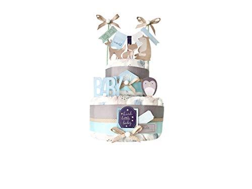 MISS NAPPY CAKE Windeltorte BABY BOY Baby Junge blau grau Geschenk zur Geburt, Taufe, Babyparty