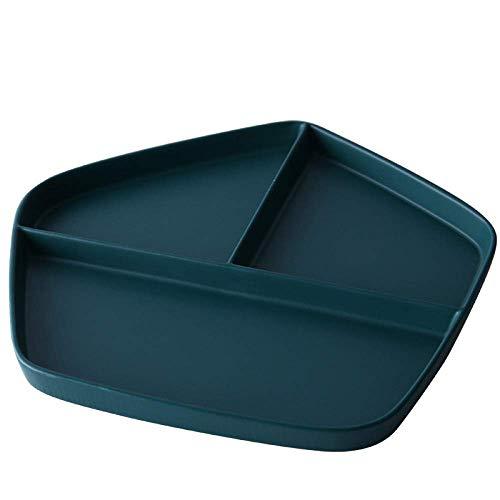 KANJJ-YU Cerámica GYHJGJapanese-Estilo de cuadrícula Desayuno Home Plate arroz Plato de Carne Occidental Plato Sencillo Postre Placa de la Fruta 28.8 * 27 * 2.3cm Cocina