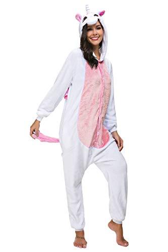 Mescara Pigiama Cosplay Intero Unisex Animale Costume Halloween Carnevale Tuta Attrezzatura Festa Party Sleepwear (M, Rosa)