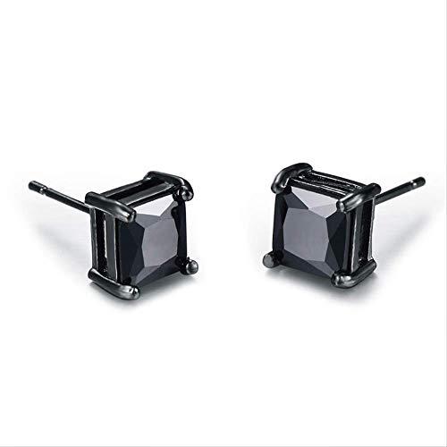 Bonito pendiente de oro negro para mujer de 4mm para hombre, pendientes cuadrados pequeños clásicos, pendientes negros de moda para hombres