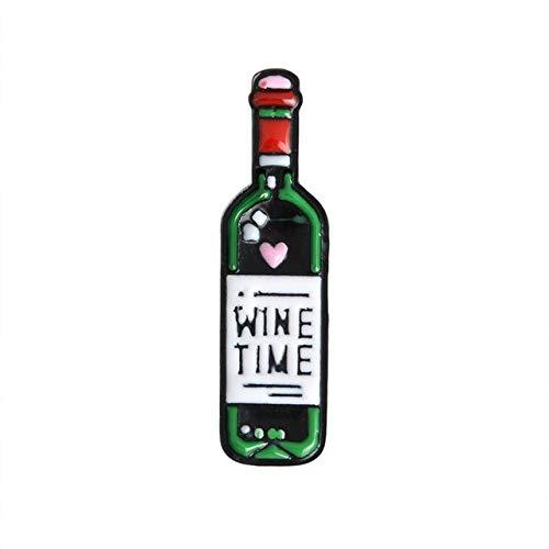 Amante del vino, alfileres de botella y vino, alfileres de solapa, insignias esmaltadas, broches para hombres, mujeres, unisex, joyería de comida, regalo