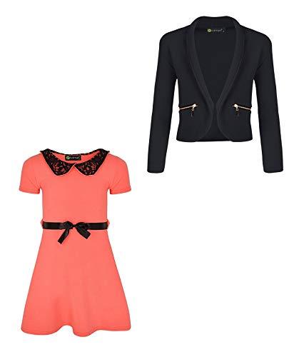 LOTMART - 2er Set Mädchen Jacken mit Spitzenkragen und Reißverschluss, Orange 13-14 Jahre