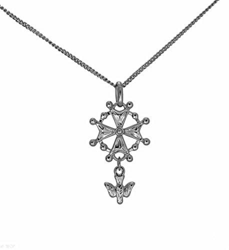 Schmuckset aus Sterling-Silber rhodiniert, mit Anhänger Hugenottenkreuz, protestantes und Kette 50 cm, in Geschenkbox für Herren