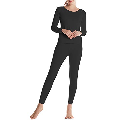 BAMBOOL COOL Women's Thermal Underwear Set with Fleece Lined Bamboo Viscose Lightweight Top and Bottom Set Long Johns Winter Warm Underwear Set for Women