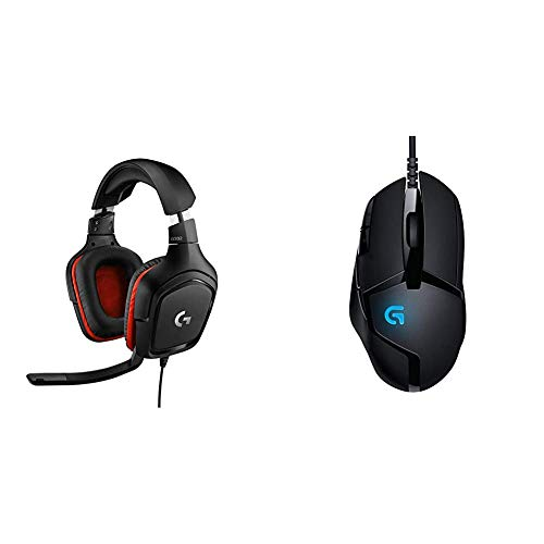 Logitech G332 Cuffie Gaming Cablate, Audio Stereo, Driver da 50 mm, Jack Audio 3.5 mm, G402 Hyperion Fury FPS Mouse Gaming, 4000 DPI, Design Leggero
